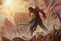 Картинка воин, монстры, сражение, трупы, нежить, раны