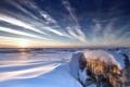 Картинка зима, поле, пейзаж, закат