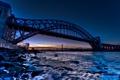 Картинка вода, закат, мост, камни, рассвет, bridge