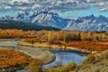 Картинка осень, небо, облака, деревья, горы, река