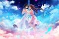 Картинка небо, полет, девушки, лепестки, art, wox