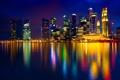 Картинка вода, ночь, огни, отражение, здания, дома, Сингапур