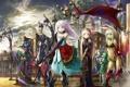 Картинка небо, облака, город, оружие, девушки, радуга, меч
