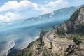 Картинка небо, деревья, океан, трасса, кусты, Need for Speed Hot Pursuit