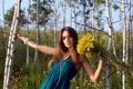 Картинка лето, девушка, цветы, берёзы