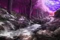 Картинка лес, деревья, ручей, камни, сакура, арт, розовое