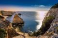 Картинка beach, sky, coast, night, portugal, algarve, atlantic ocean