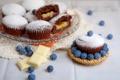 Картинка белый, шоколад, черника, десерт, выпечка, сладкое, кексы