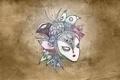 Картинка птица, нестандартность, маска, цветы