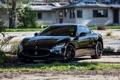 Картинка трава, асфальт, отражение, чёрный, Maserati, black, вид спереди