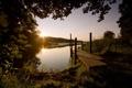 Картинка пейзаж, swedish summer, озеоо, мост
