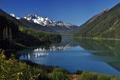 Картинка небо, вода, деревья, горы, озеро, фото, обои