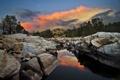 Картинка закат, природа, река, камни, США, Kern River Valley