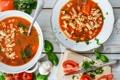 Картинка нож, помидоры, чеснок, макароны, томатный суп, базилик