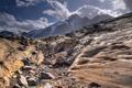 Картинка облака, снег, горы, камни, скалы, валуны