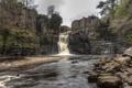 Картинка камни, река, скалы, деревья, водопад, растительность