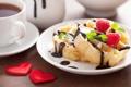 Картинка малина, шоколад, мята, вафли