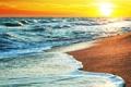 Картинка песок, закат, океан