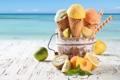 Картинка абрикос, лайм, киви, лимон, мороженое