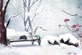 Картинка зима, снег, цветы, рисунок, розы, скамья