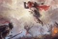 Картинка дым, арт, герой, солдаты, битва, сражение