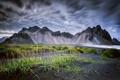 Картинка Vestrahorn, Stockksness, Исландия, горы, небо, чёрный песок