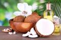 Картинка цветок, кокос, миска, дольки, кокосовое масло