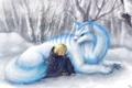 Картинка зима, снег, эльф, существо, зверь