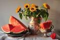 Картинка арбуз, кувшин, стол, натюрморт, цветы