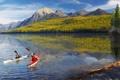 Картинка цветы, горы, отражение, река, люди, отдых, красота