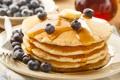 Картинка ягоды, еда, черника, мед, тарелка, мёд, блинчики