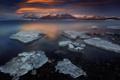 Картинка горы, ночь, природа, озеро, лёд