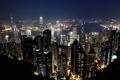 Картинка ночь, огни, Гонконг, небоскребы, панорама, Китай, мегаполис