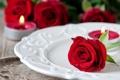 Картинка капли, цветы, капельки, роза, свечи, бутон, тарелка