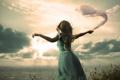 Картинка sea, goodbye, Woman, sunbeams
