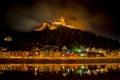 Картинка ночь, город, замок, гора, дома, германия, night