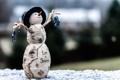 Картинка макро, игрушка, снеговик