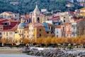 Картинка камни, Лигурия, море, берег, Сан-Теренцо, деревья, дома