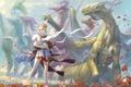 Картинка поле, ветер, маки, драконы, катана, лепестки, арт