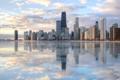 Картинка США, Америка, Небоскребы, вода, город, Chicago, отражение