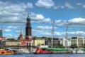 Картинка город, река, фото, дома, яхты, Германия, Гамбург