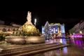 Картинка ночь, огни, праздник, Франция, елка, Рождество, фонтан