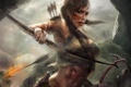 Картинка девушка, кровь, лук, арт, Tomb Raider, стрелы, lara croft