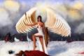 Картинка холод, зима, небо, взгляд, девушка, лицо, поза
