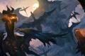Картинка полет, скала, огонь, драконы, арт, монстры, много