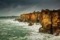 Картинка шторм, побережье, скалы, море