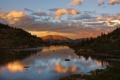 Картинка лес, облака, горы, река