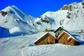 Картинка зима, небо, снег, горы, дома, Италия, курорт