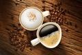 Картинка пена, кофе, чашки, напиток, зерна