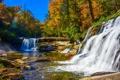 Картинка осень, лес, деревья, камни, речка, водопады, солнечно